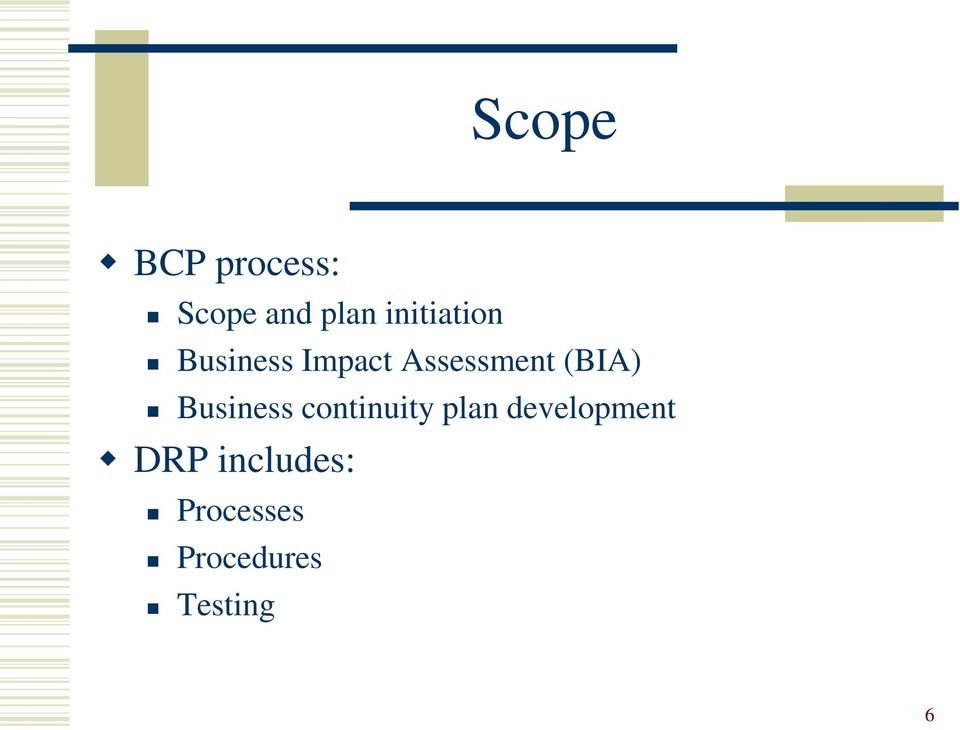 (BIA) Business continuity plan