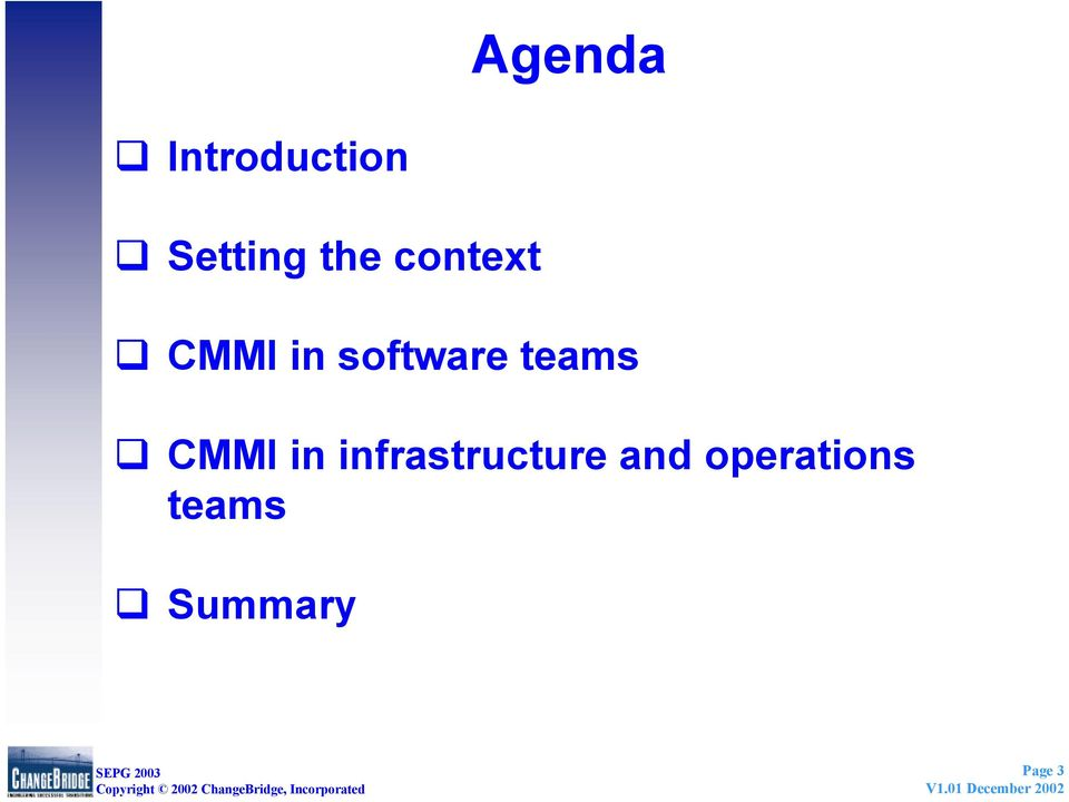 teams CMMI in infrastructure