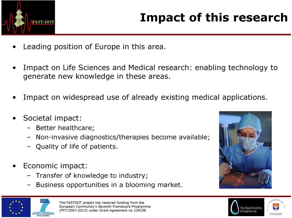 Impact on widespread use of already existing medical applications.