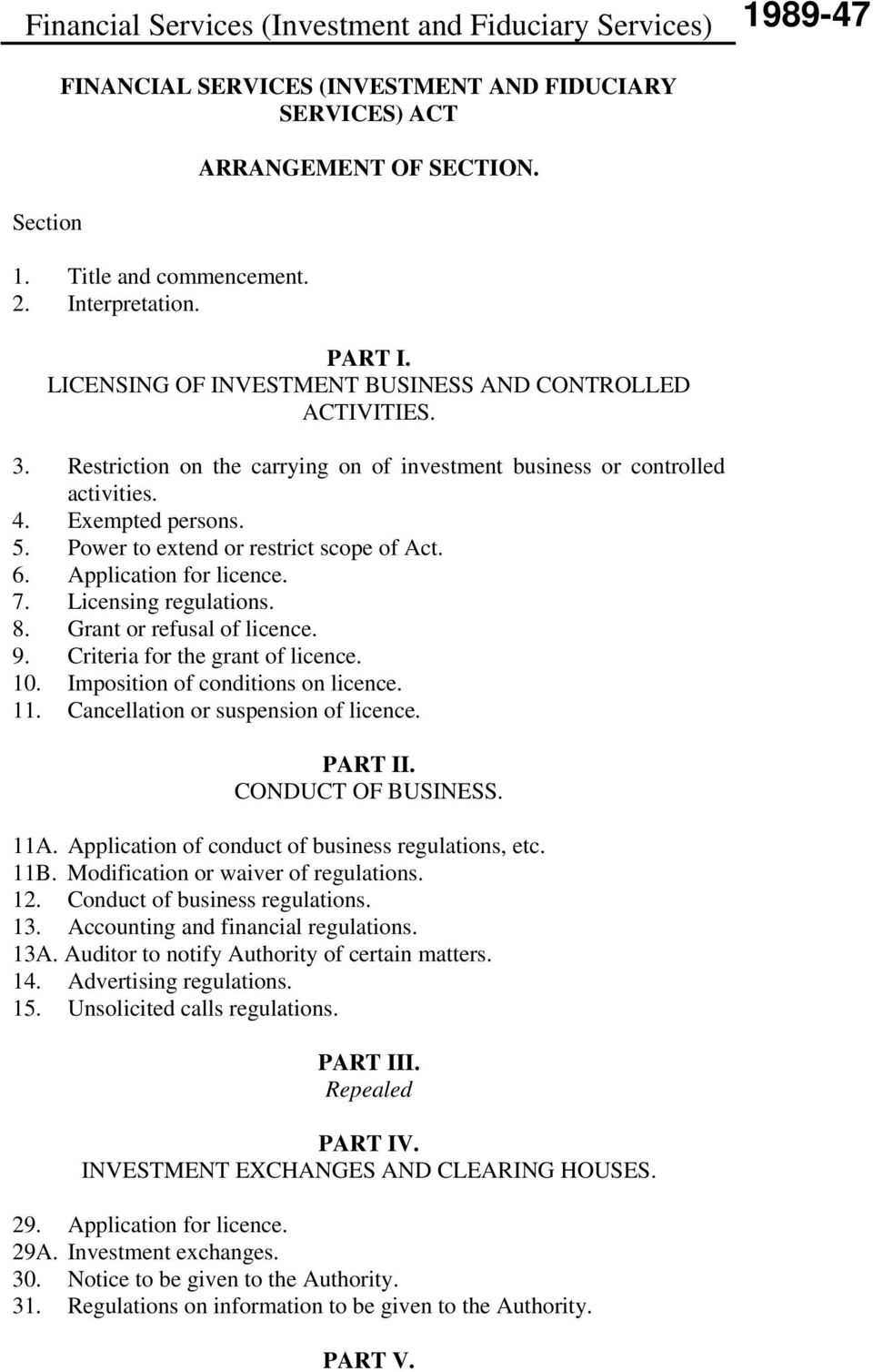 Power to extend or restrict scope of Act. 6. Application for licence. 7. Licensing regulations. 8. Grant or refusal of licence. 9. Criteria for the grant of licence. 10.