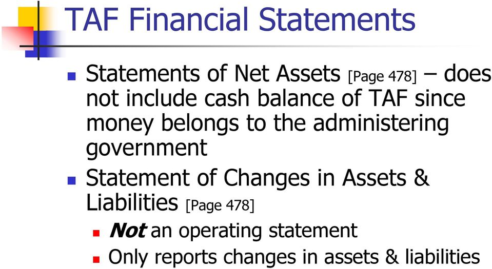 government Statement of Changes in Assets & Liabilities [Page 478]