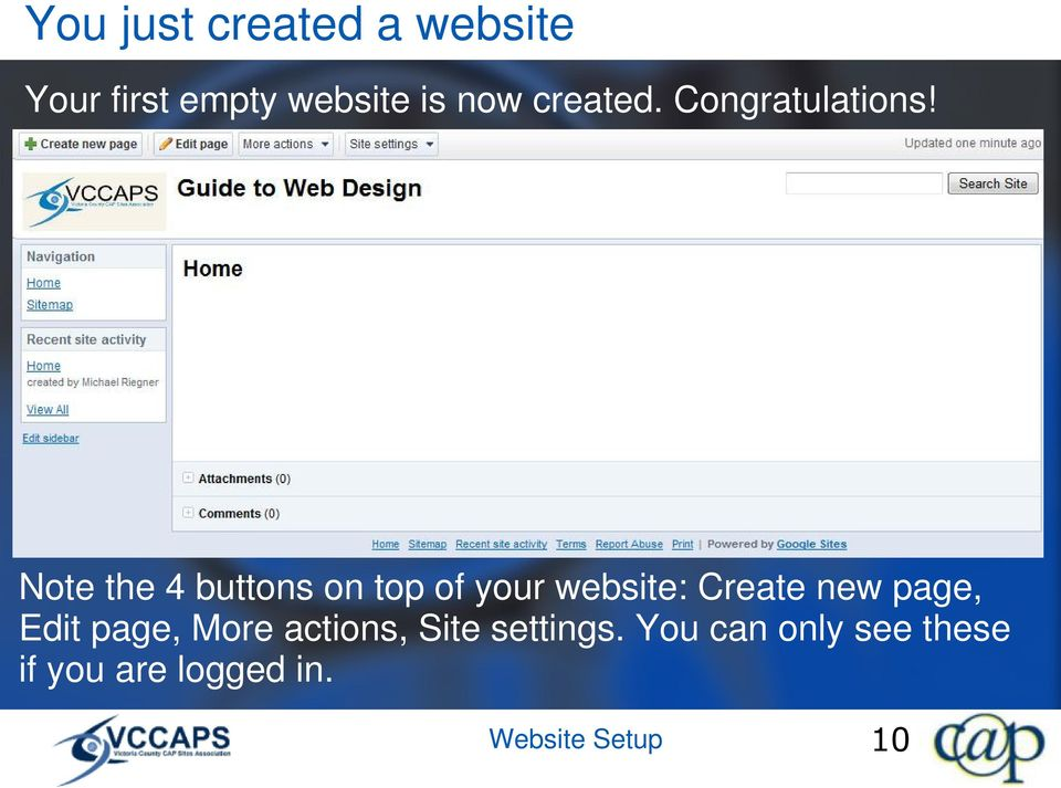 Note the 4 buttons on top of your website: Create new page,