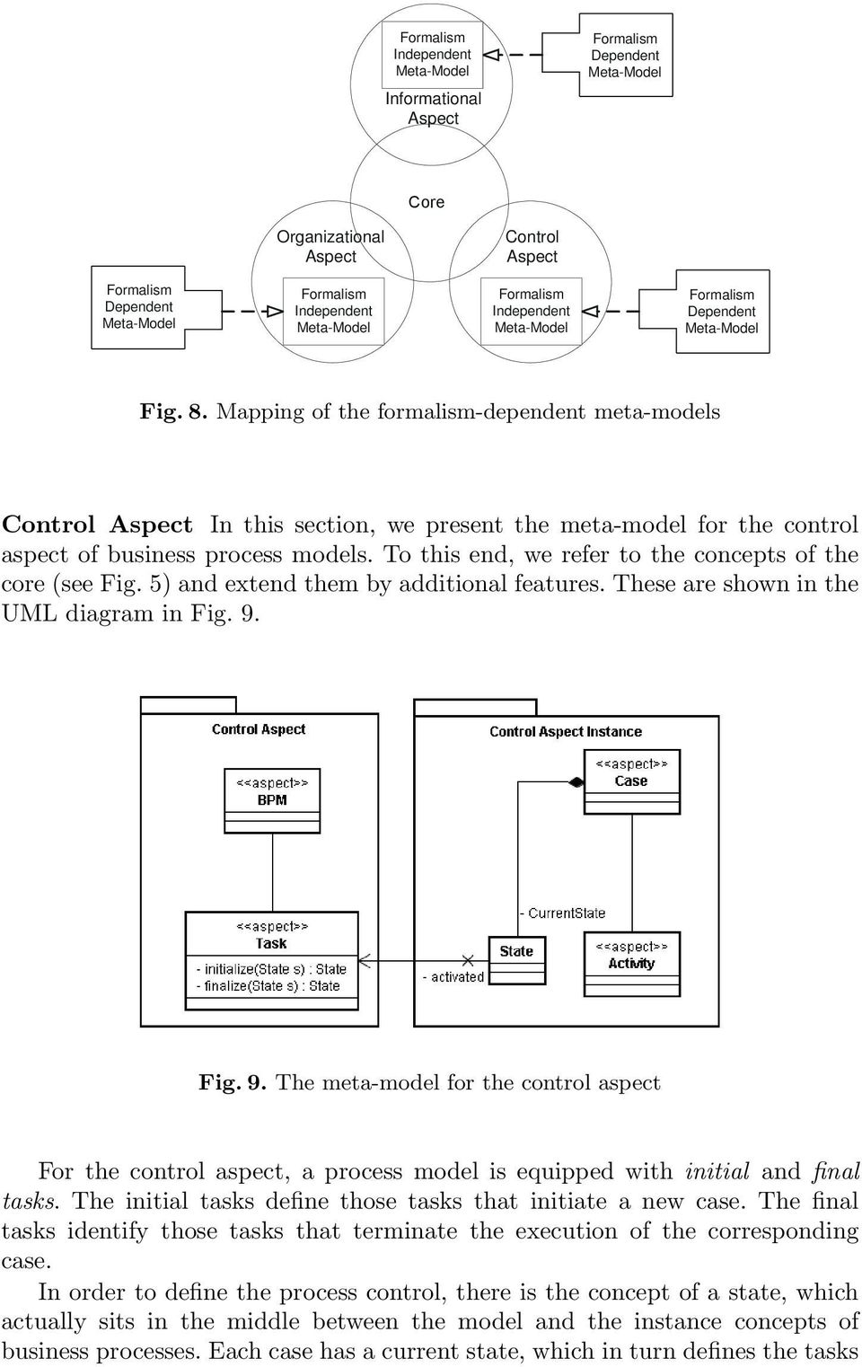 Mapping of the formalism-dependent meta-models Control Aspect In this section, we present the meta-model for the control aspect of business process models.