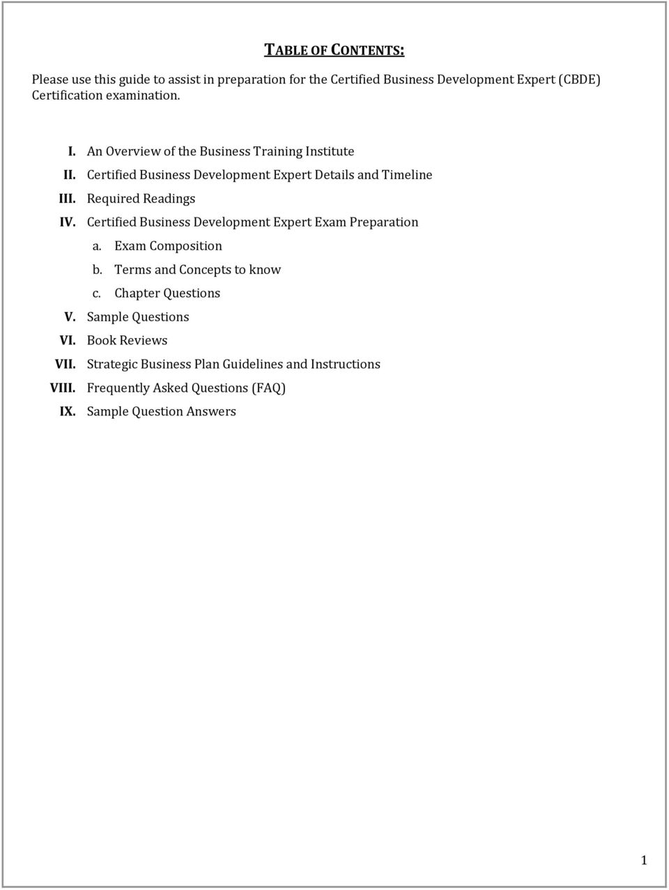 business plan examination questions and answers