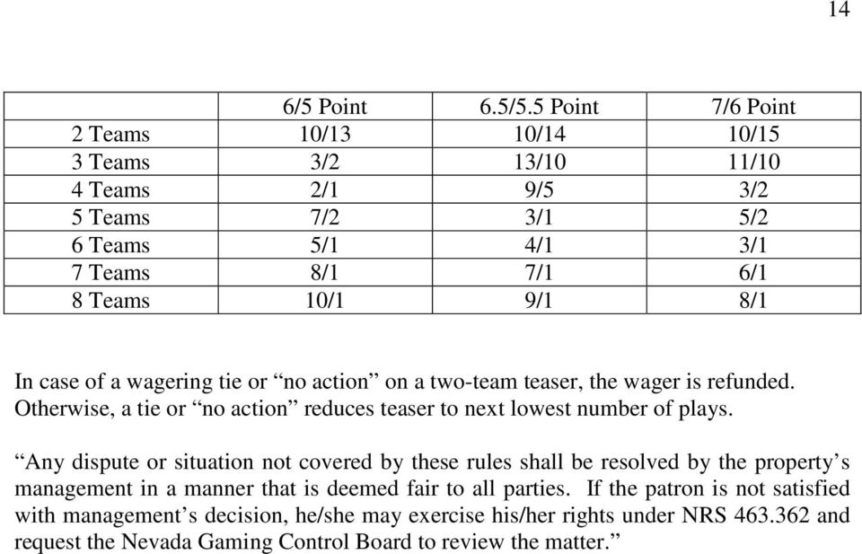 In case of a wagering tie or no action on a two-team teaser, the wager is refunded. Otherwise, a tie or no action reduces teaser to next lowest number of plays.