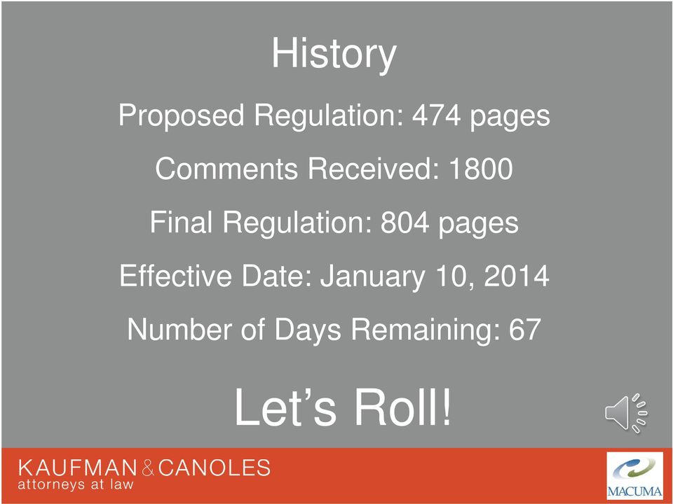 Regulation: 804 pages Effective Date: