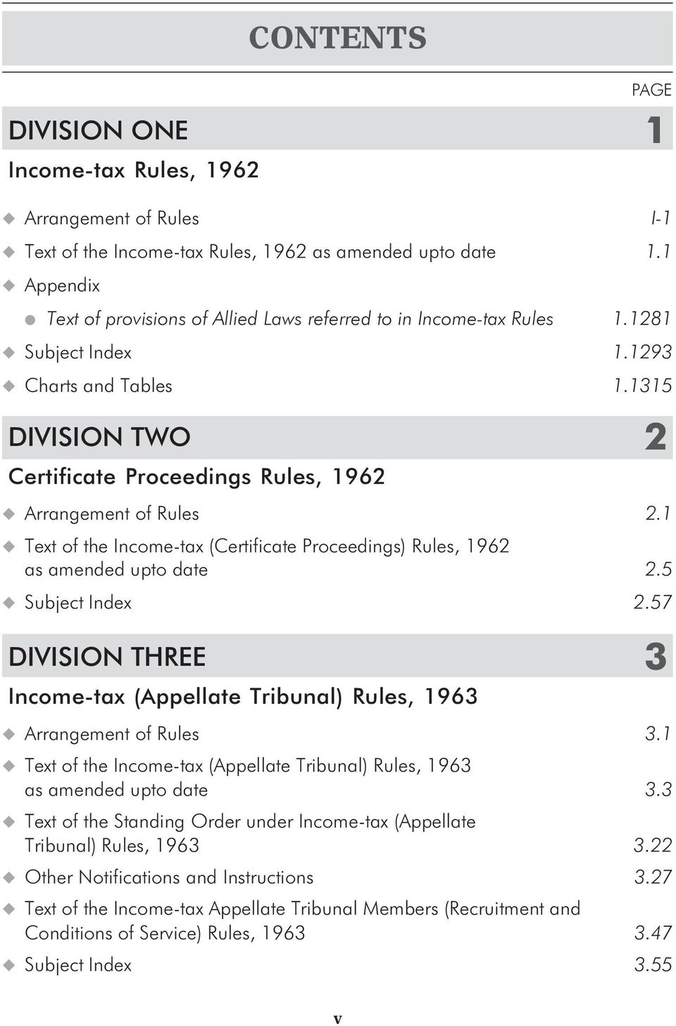 1 Text of the Income-tax (Certificate Proceedings) Rules, 1962 as amended upto date 2.5 Subject Index 2.57 DIVISION THREE 3 Income-tax (Appellate Tribunal) Rules, 1963 Arrangement of Rules 3.