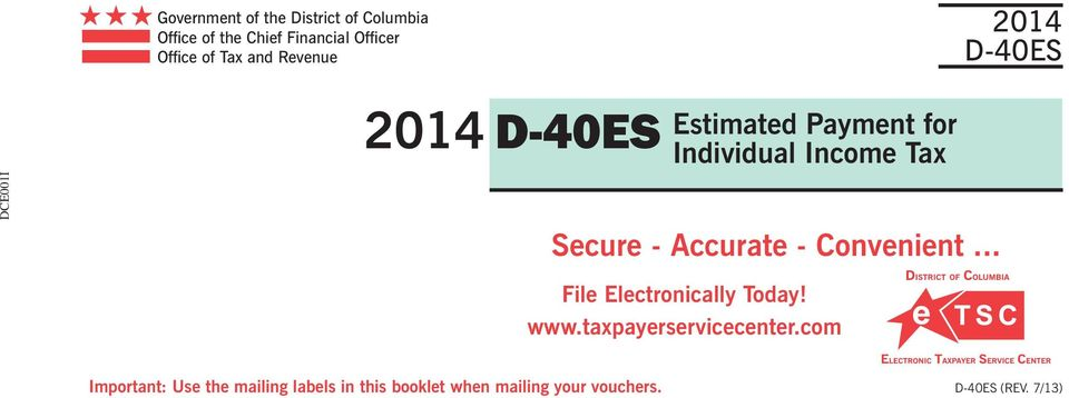 Secure - Accurate - Convenient... File Electronically Today! www.taxpayerservicecenter.