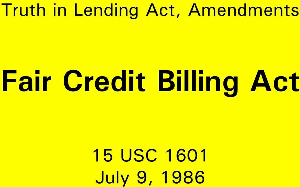 Credit Billing Act