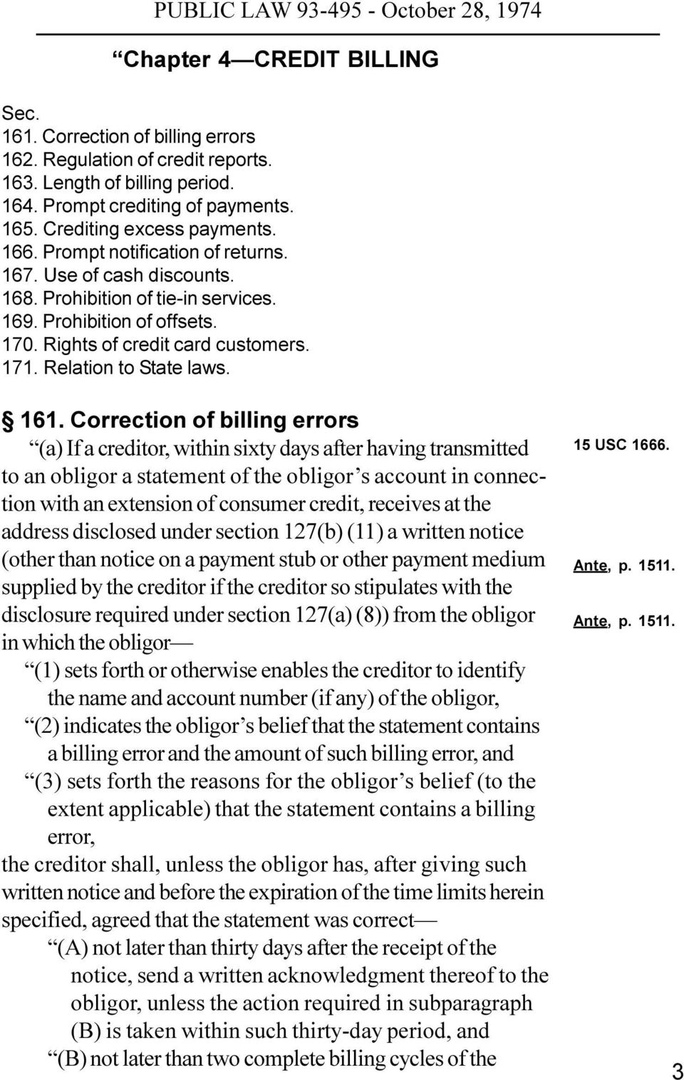 161. Correction of billing errors (a) If a creditor, within sixty days after having transmitted to an obligor a statement of the obligor s account in connection with an extension of consumer credit,