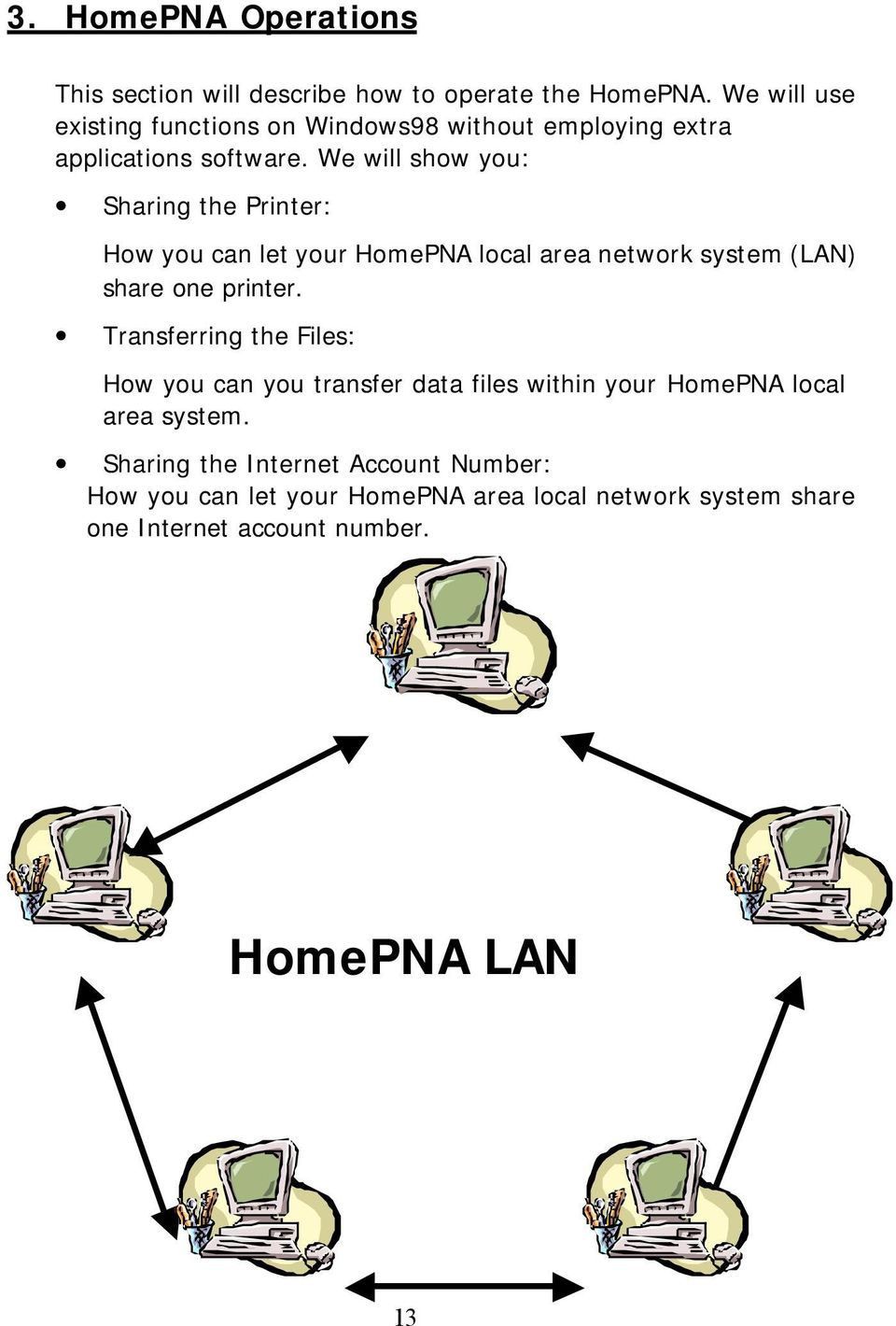 We will show you: Sharing the Printer: How you can let your HomePNA local area network system (LAN) share one printer.