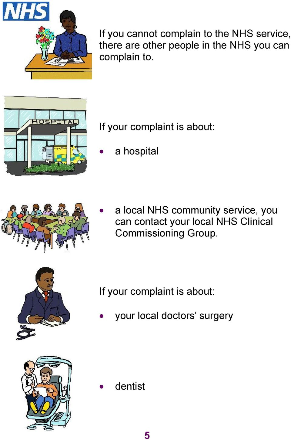 If your complaint is about: a hospital a local NHS community service, you