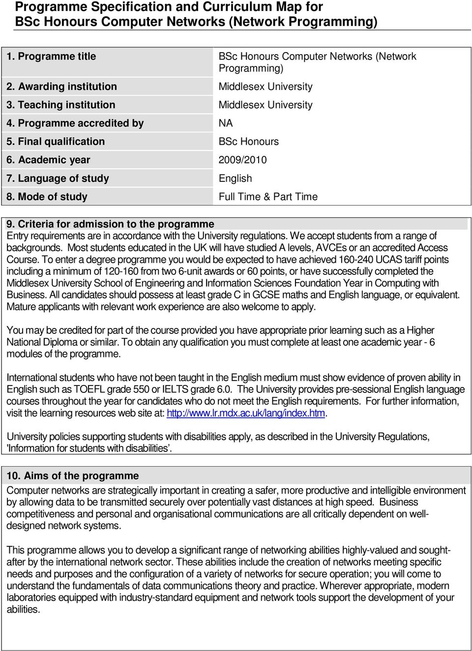 Language of study English 8. Mode of study Full Time & Part Time 9. Criteria for admission to the programme Entry requirements are in accordance with the University regulations.