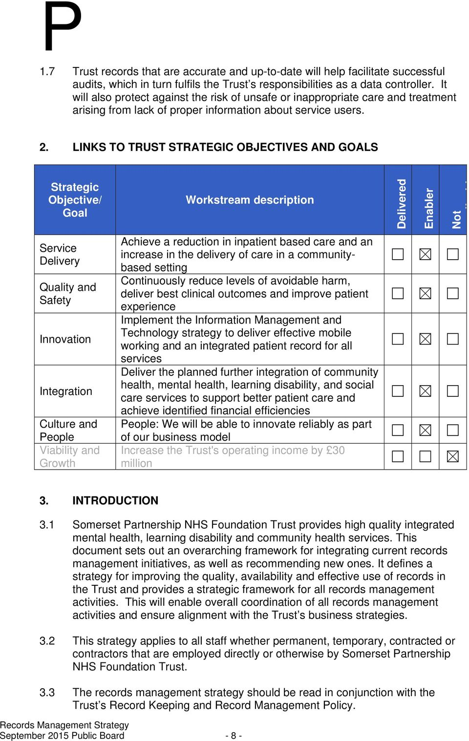 LINKS TO TRUST STRATEGIC OBJECTIVES AND GOALS Strategic Objective/ Goal Workstream description Delivered Enabler Not li bl Service Delivery Quality and Safety Innovation Integration Culture and