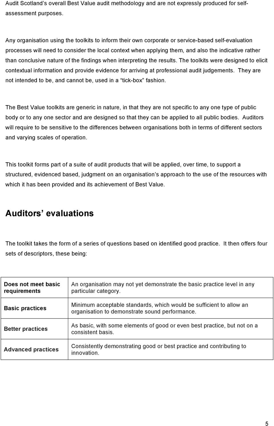 than conclusive nature of the findings when interpreting the results. The toolkits were designed to elicit contextual information and provide evidence for arriving at professional audit judgements.
