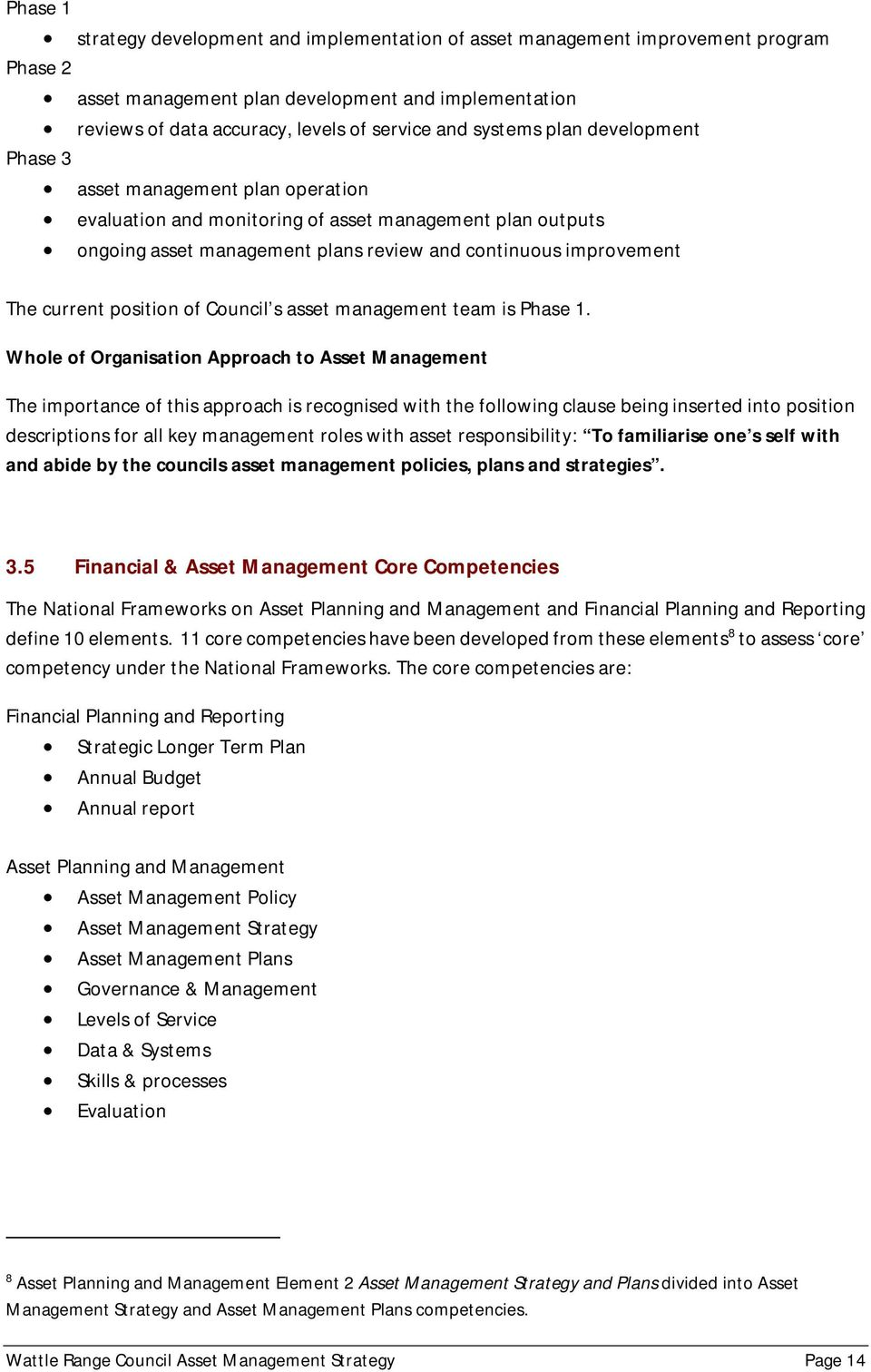 current position of Council s asset management team is Phase 1.