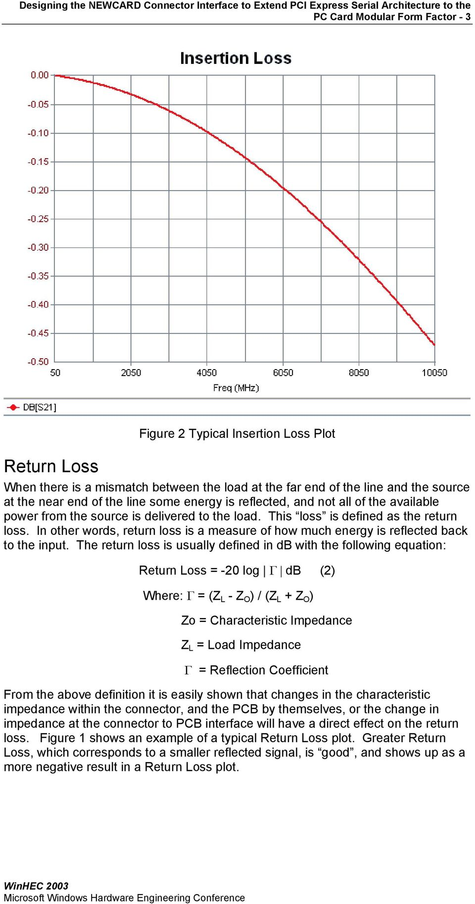 In other words, return loss is a measure of how much energy is reflected back to the input.