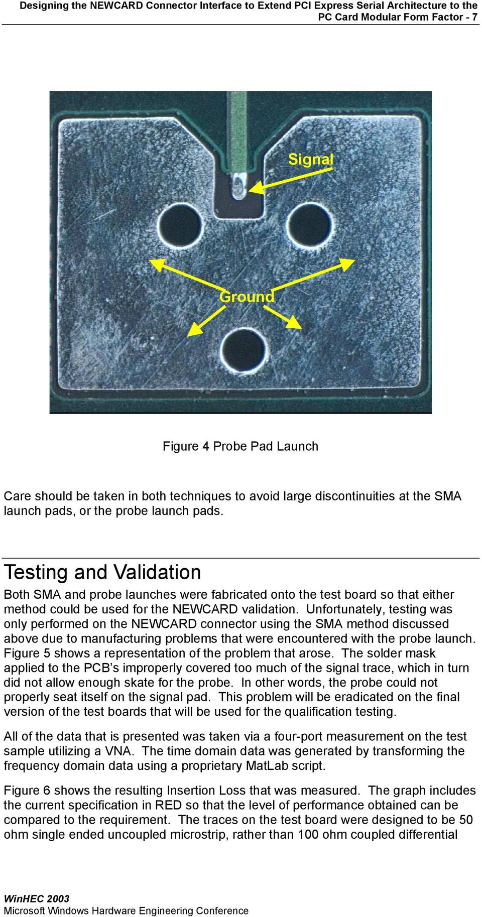 Unfortunately, testing was only performed on the NEWCARD connector using the SMA method discussed above due to manufacturing problems that were encountered with the probe launch.