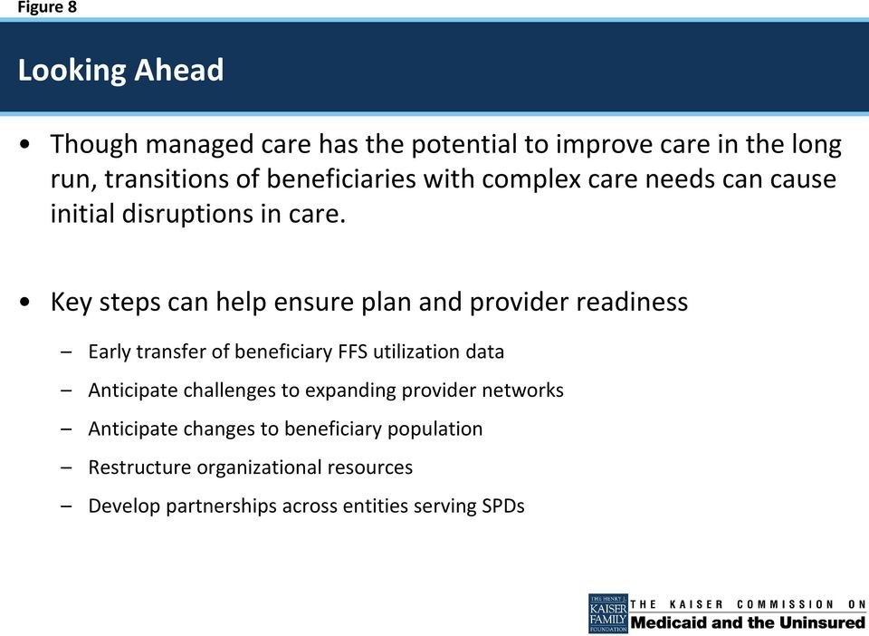 Key steps can help ensure plan and provider readiness Early transfer of beneficiary FFS utilization data Anticipate