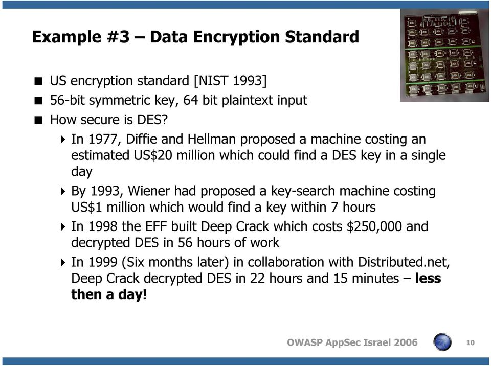 proposed a key-search machine costing US$1 million which would find a key within 7 hours In 1998 the EFF built Deep Crack which costs $250,000 and