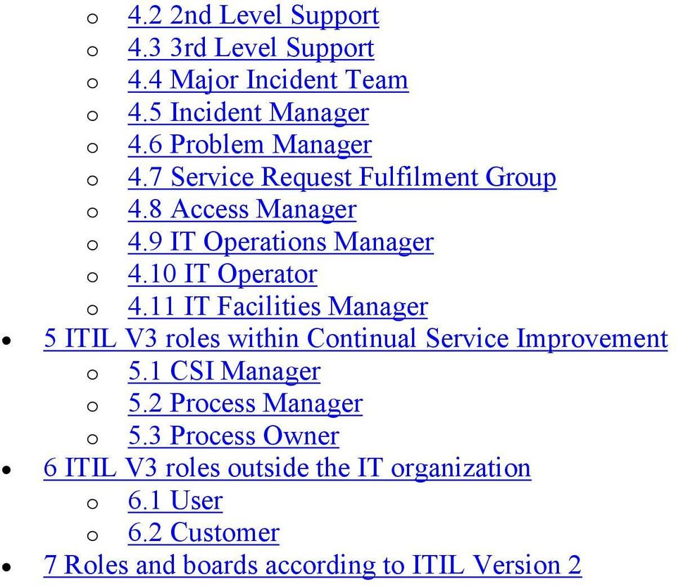 10 IT Operator o 4.11 IT Facilities Manager 5 ITIL V3 roles within Continual Service Improvement o 5.1 CSI Manager o 5.