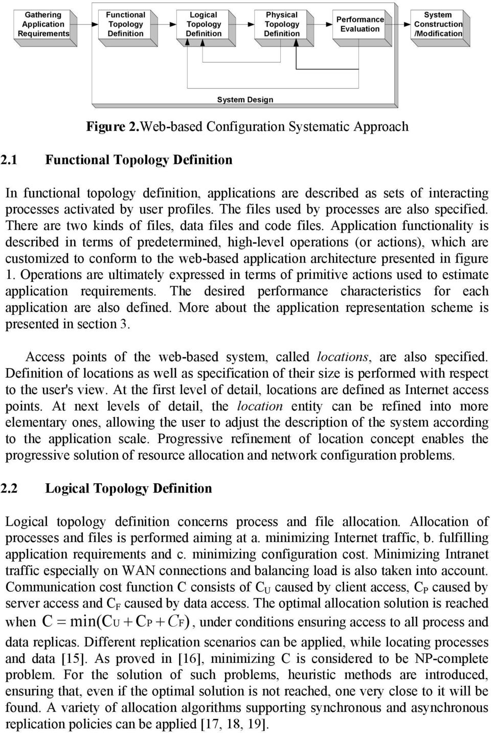 1 Functional Topology Definition In functional topology definition, applications are described as sets of interacting processes activated by user profiles.