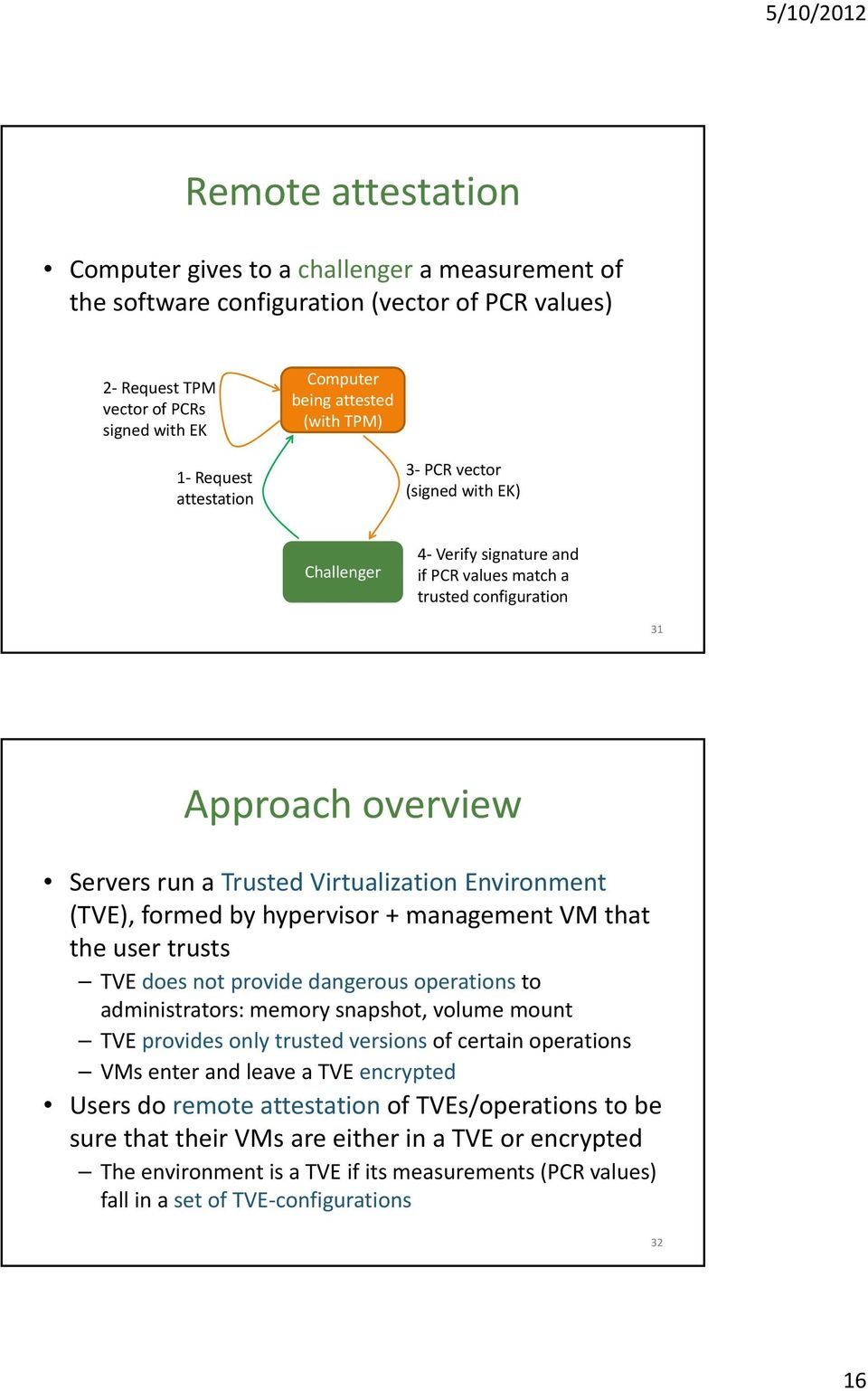 (TVE), formed by hypervisor + managementvm that the user trusts TVE does not provide dangerous operations to administrators: memory snapshot, volume mount TVE provides only trusted versions of