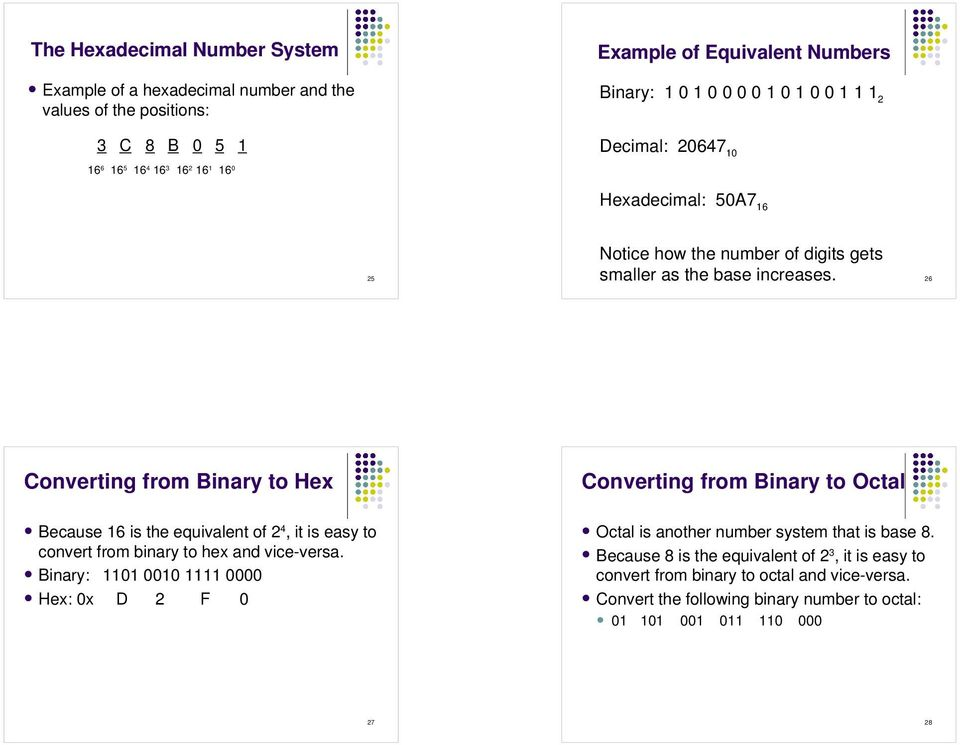 26 Converting from Binary to Hex Converting from Binary to Octal Because 16 is the equivalent of 2 4, it is easy to convert from binary to hex and vice-versa.