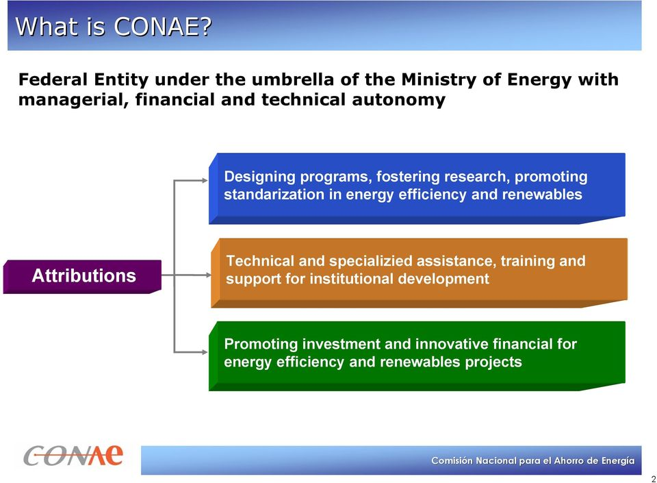 autonomy Designing programs, fostering research, promoting standarization in energy efficiency and