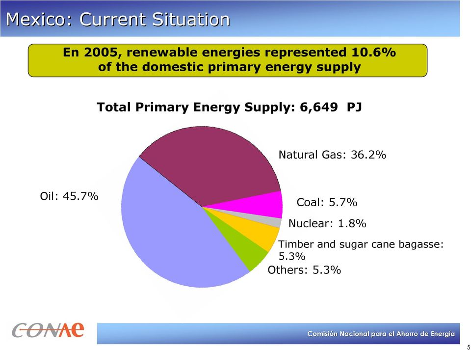 6% of the domestic primary energy supply Total Primary Energy