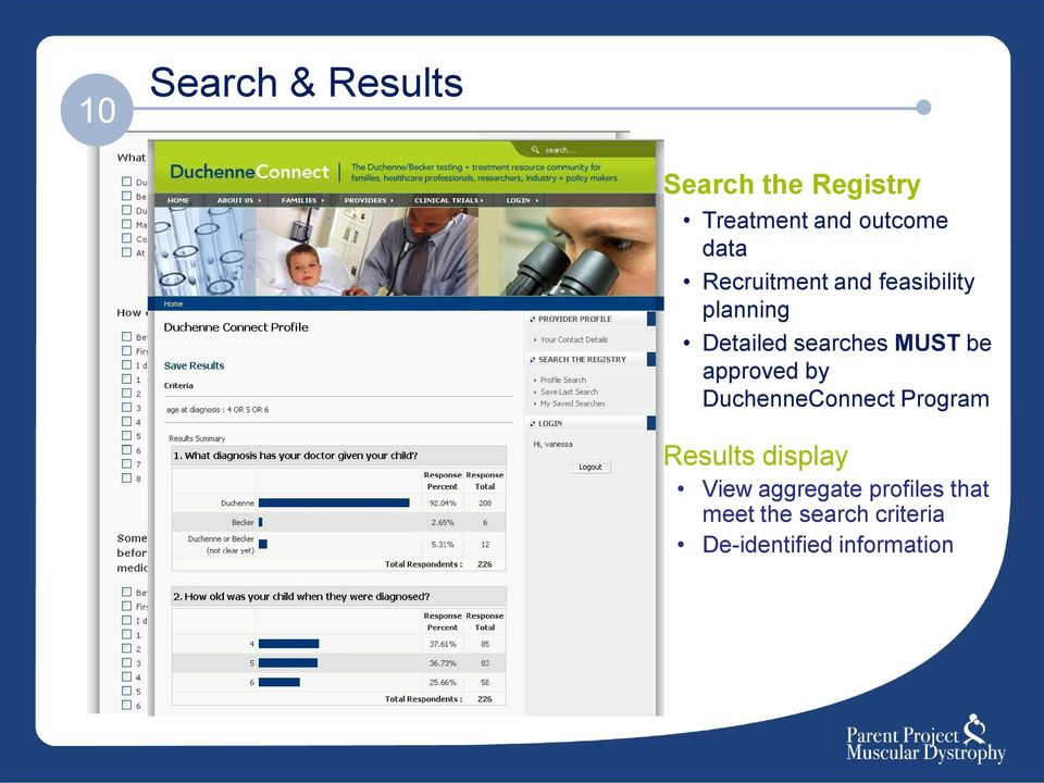 be approved by DuchenneConnect Program Results display View