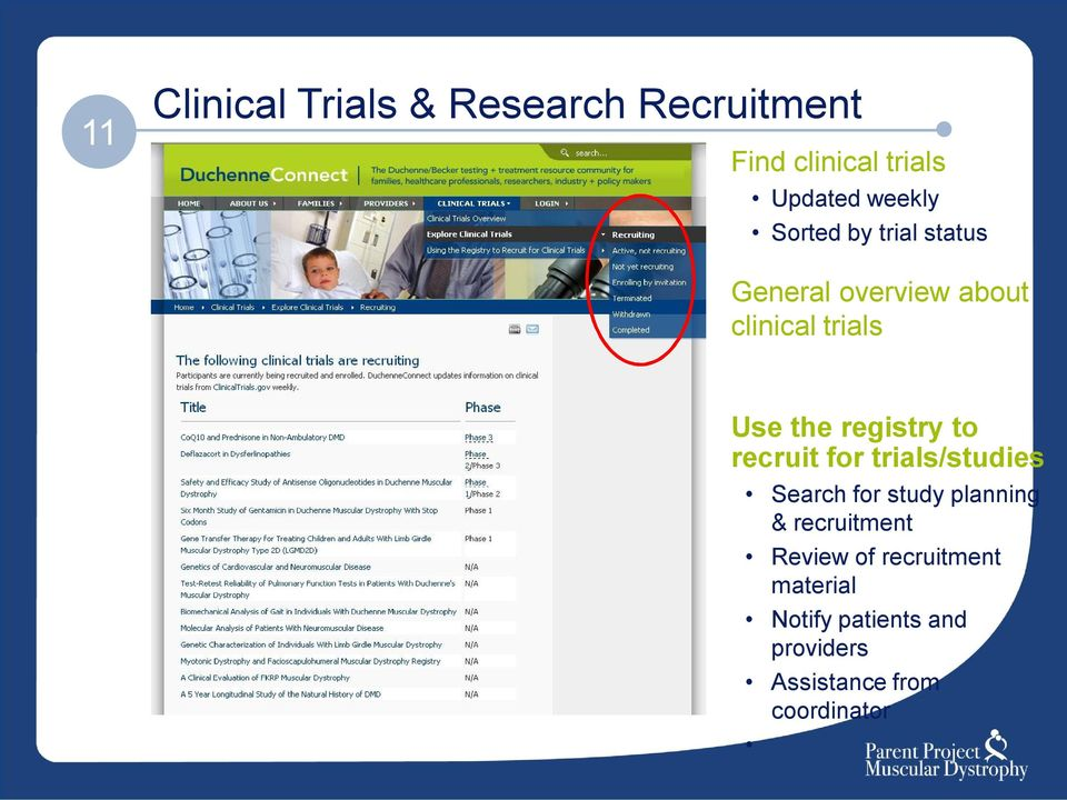 to recruit for trials/studies Search for study planning & recruitment Review