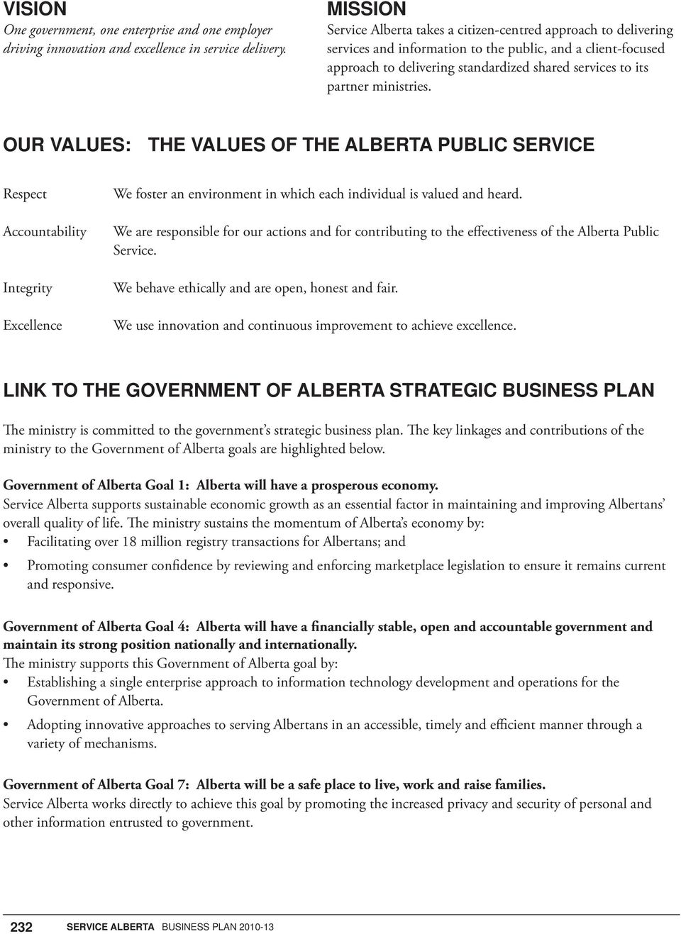 ministries. OUR VALUES: THE VALUES OF THE ALBERTA PUBLIC SERVICE Respect Accountability Integrity Excellence We foster an environment in which each individual is valued and heard.