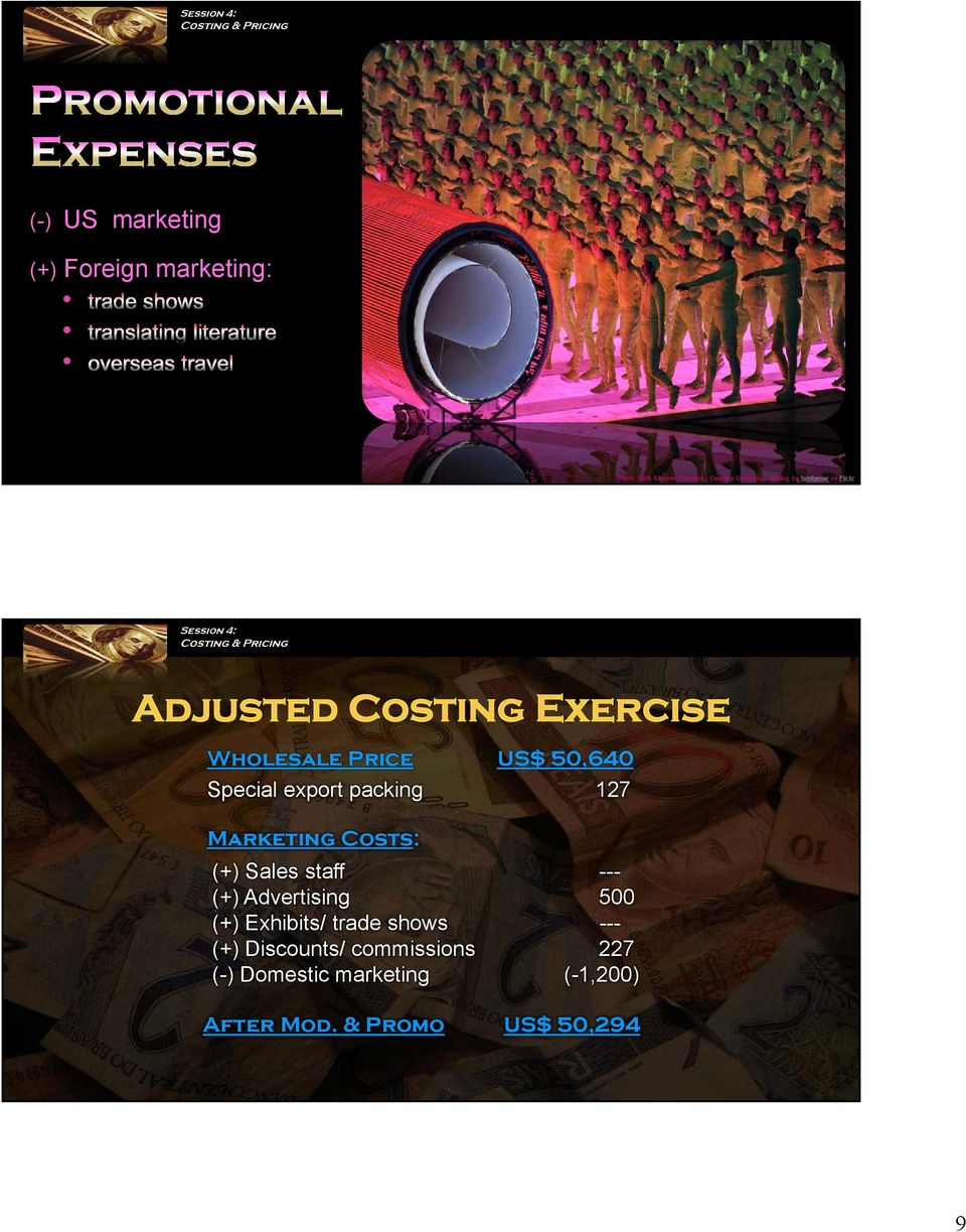 Marketing Costs: (+) Sales staff --- (+) Advertising 500 (+) Exhibits/ trade shows ---