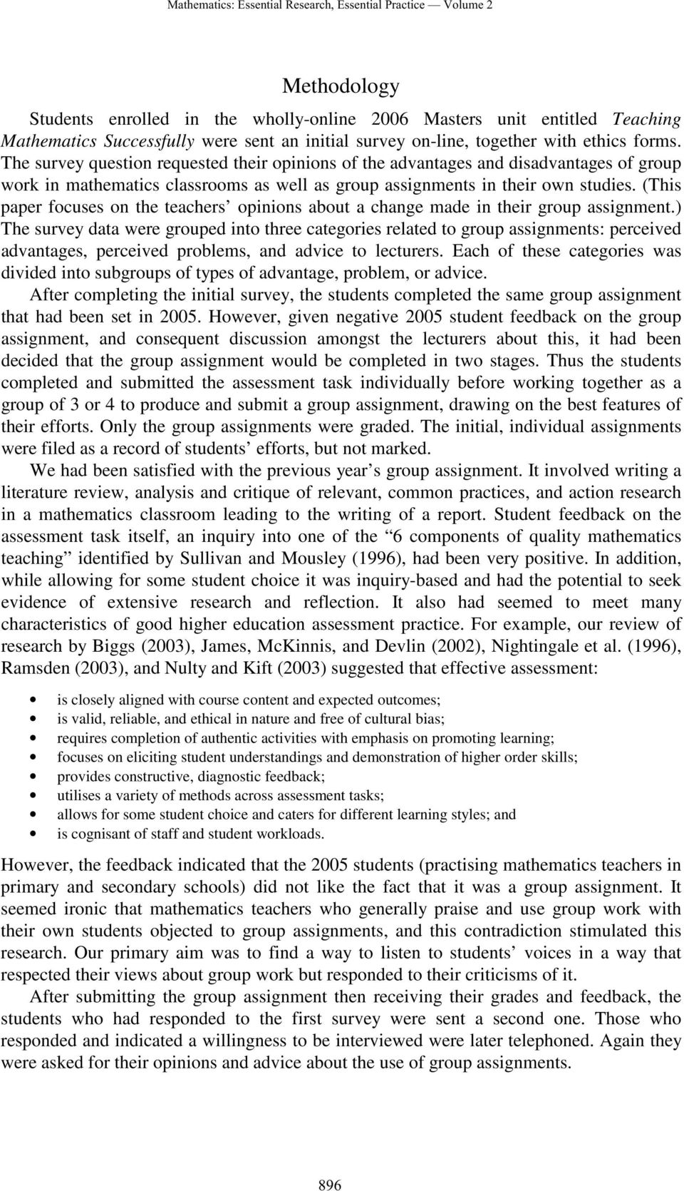 (This paper focuses on the teachers opinions about a change made in their group assignment.