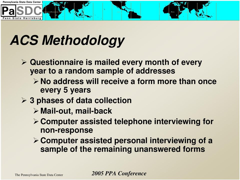 collection Mail-out, mail-back Computer assisted telephone interviewing for