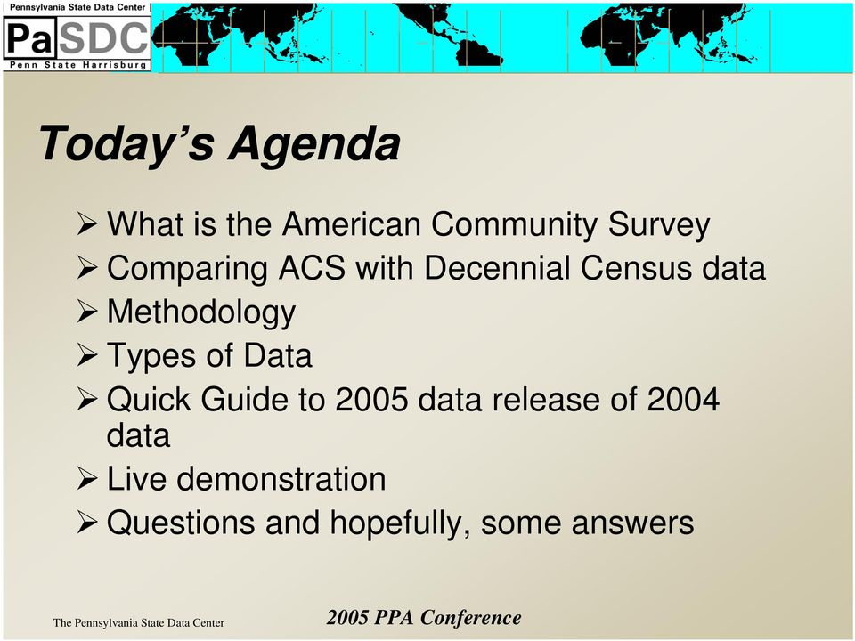 Types of Data Quick Guide to 2005 data release of 2004