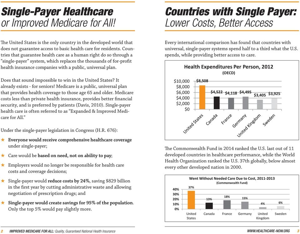 Countries that guarantee health care as a human right do so through a single-payer system, which replaces the thousands of for-profit health insurance companies with a public, universal plan.