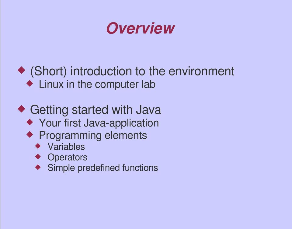 Java Your first Java-application Programming
