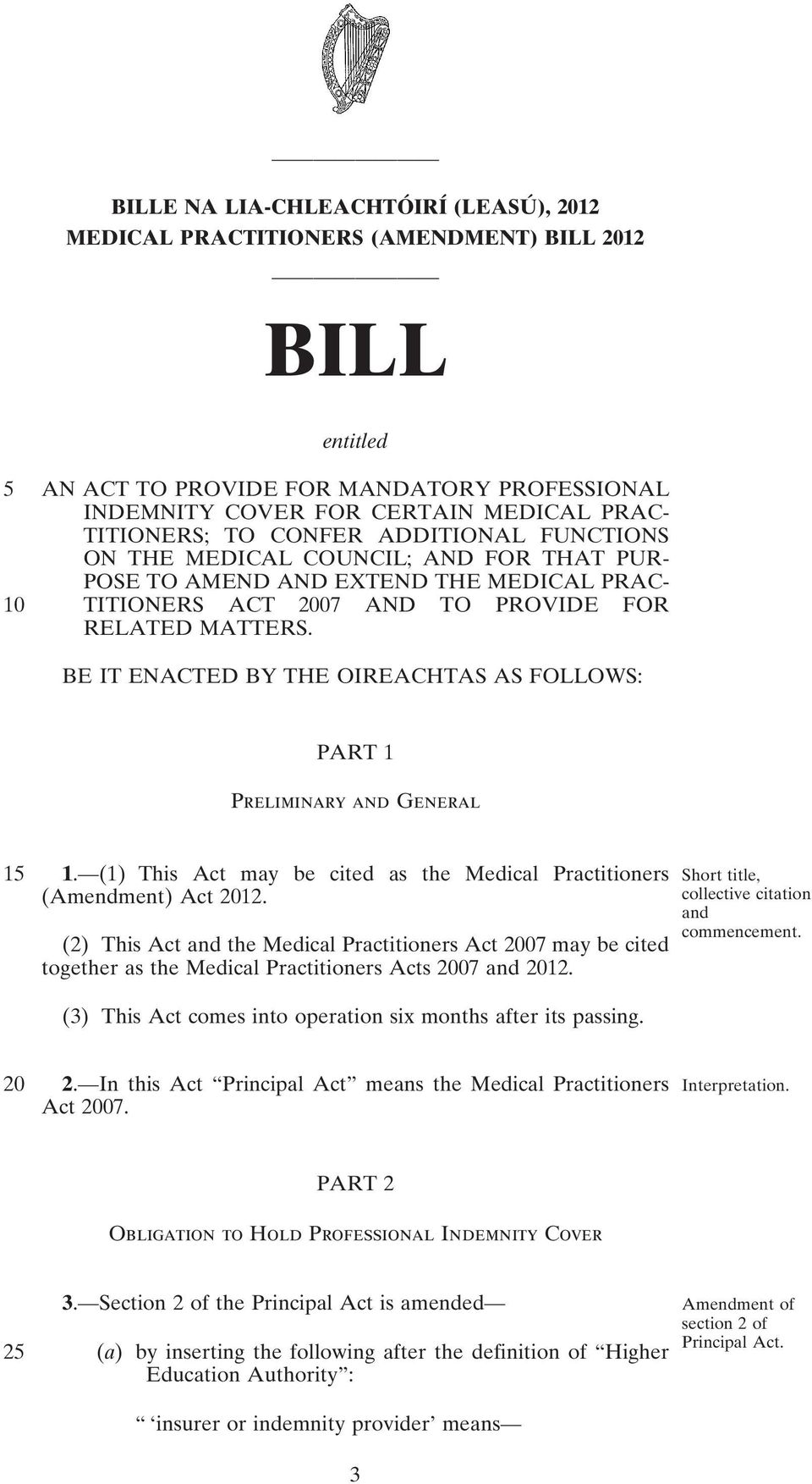 BE IT ENACTED BY THE OIREACHTAS AS FOLLOWS: PART 1 Preliminary and General 15 1. (1) This Act may be cited as the Medical Practitioners (Amendment) Act 2012.
