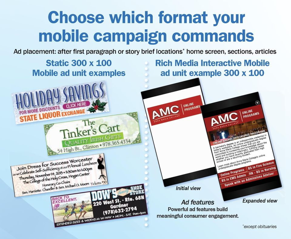 examples Rich Media Interactive Mobile ad unit example 300 x 100 Initial view Ad features