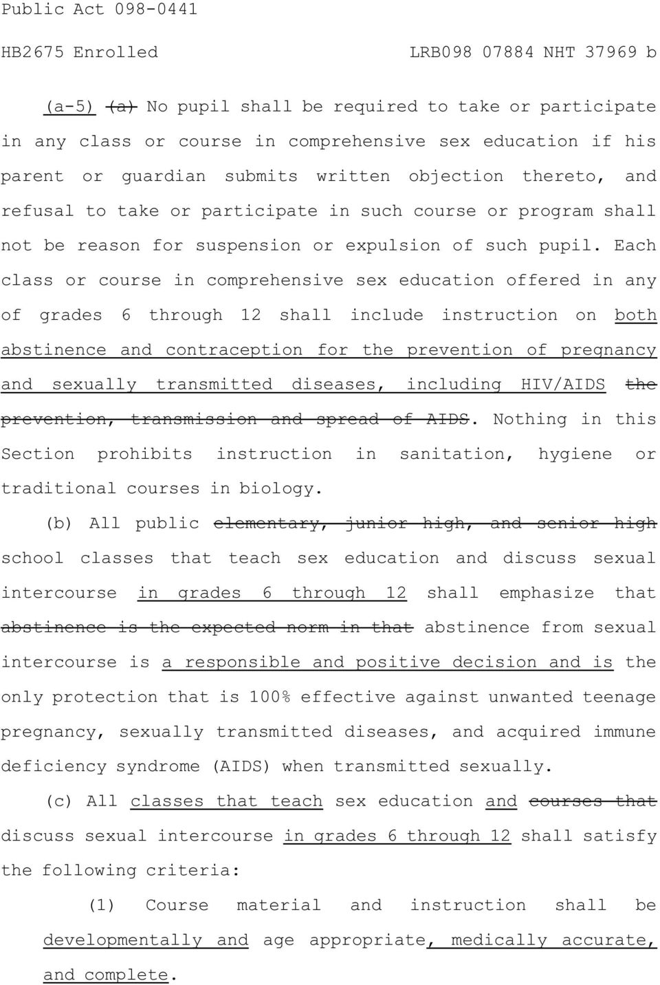 Each class or course in comprehensive sex education offered in any of grades 6 through 12 shall include instruction on both abstinence and contraception for the prevention of pregnancy and sexually