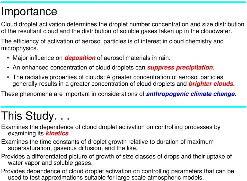 An enhanced concentration of cloud droplets can suppress precipitation.