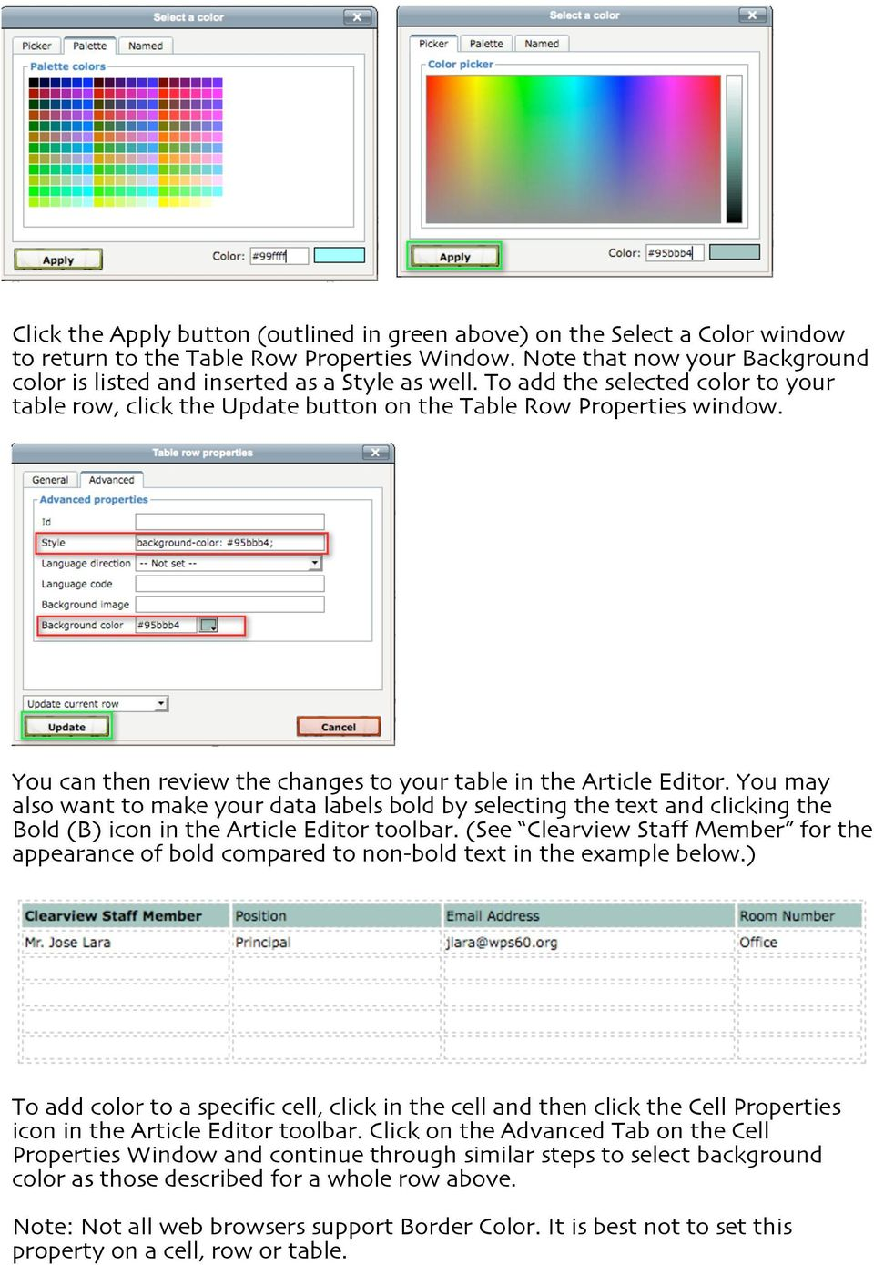 You can then review the changes to your table in the Article Editor. You may also want to make your data labels bold by selecting the text and clicking the Bold (B) icon in the Article Editor toolbar.