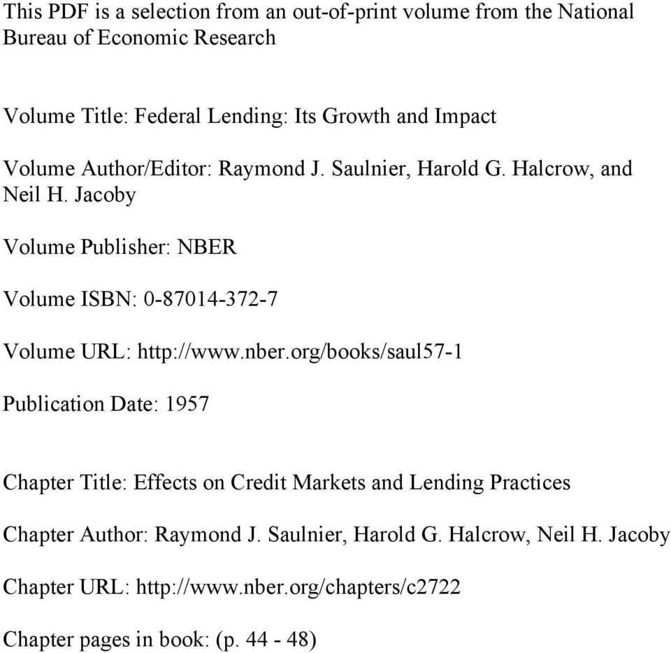 Jacoby Volume Publisher: NBER Volume ISBN: 0-87014-372-7 Volume URL: http://www.nber.
