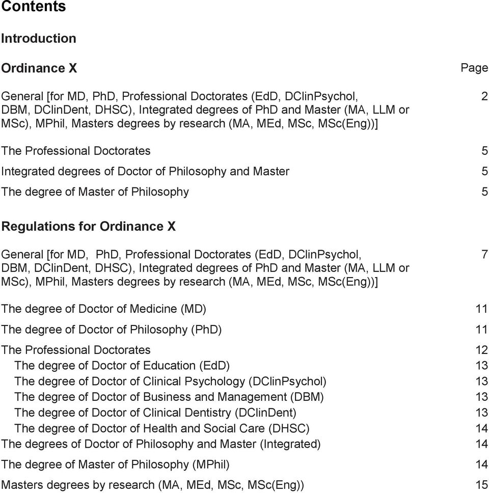 Ordinance X General [for MD, PhD, Professional Doctorates (EdD, DClinPsychol, DBM, DClinDent, DHSC), Integrated degrees of PhD and Master (MA, LLM or MSc), MPhil, Masters degrees by research (MA,