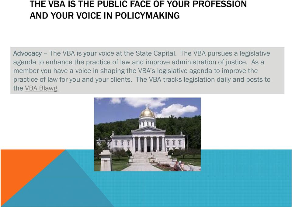 The VBA pursues a legislative agenda to enhance the practice of law and improve administration of justice.