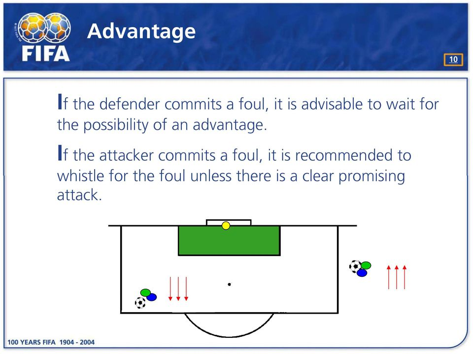 If the attacker commits a foul, it is recommended to
