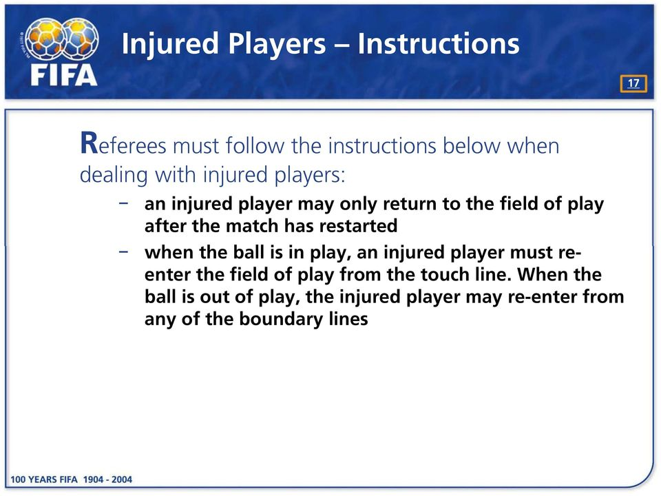 restarted when the ball is in play, an injured player must reenter the field of play from the