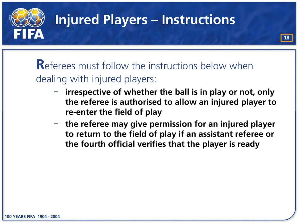 injured player to re-enter the field of play the referee may give permission for an injured player to